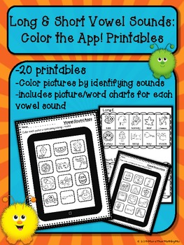 Long & Short Vowel Sounds: Color the App Printables