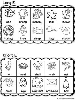 Long & Short Vowel Sounds: Color the App Printables