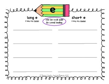 Long & Short Vowel Sounds Pack {sound sorts & recording activities}