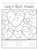Long & Short Vowel Valentines Coloring Page
