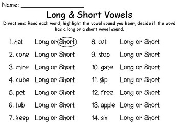 Long & Short Vowels