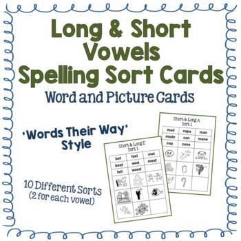 Long & Short Vowels Spelling Sort Cards - Multiple - Simil