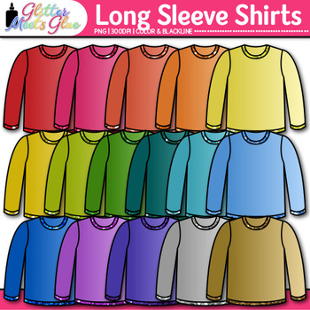 Long Sleeve Shirt Clip Art: T-Shirt Clothing Graphics {Glitter Meets Glue}