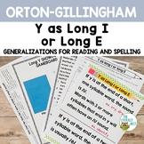 Long Sounds of Y Orton-Gillingham Spelling Generalizations