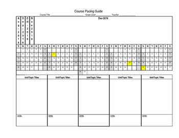 Pacing guide template images template design ideas for Pacing calendar template for teachers