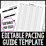 Pacing Guide Editable Template