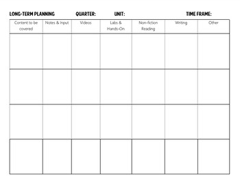 Long Term Planning Template