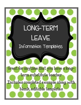 Long Term Substitute or Maternity Leave Templates and Example