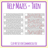 Long Thin Help Mazes Templates - Help The... Find Their...  Commercial Use