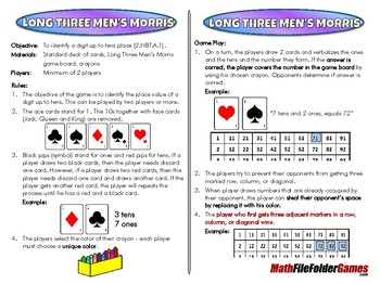Long Three Men's Morris - 2nd Grade Math Game [CCSS 2.NBT.A.1]