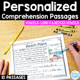 Long U & Mixed Long Vowel Reading Passages: PERSONALIZED Comprehension Class Set