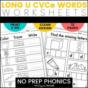 NO PREP Print & Go Long U CVCe Word Work