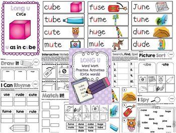 Long U (CVCe) Word Work Activities