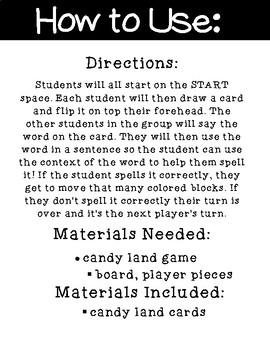Long U Candy Land Cards