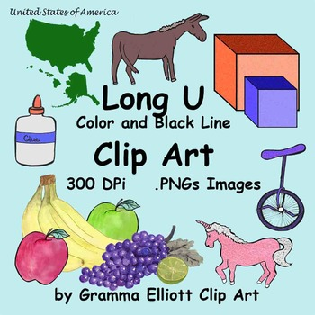 Long U Realistic Clip Art - 65 Color and BW 300 DPi clips
