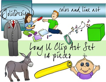 Long U Clip Art Set - Color and Line Art 14 pc set