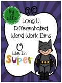 Long U Differentiated Word Work Bins