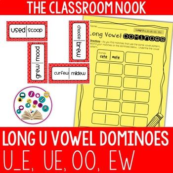 Long Vowel Dominoes: Long U (ue, u_e, oo, ew)