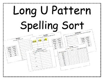 Long U Pattern Spelling Packet