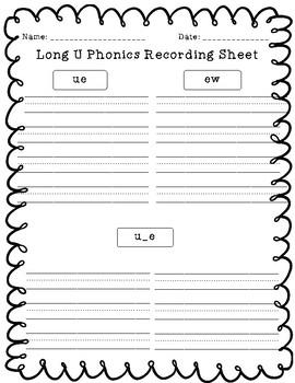 Long U Phonics Picture Sort