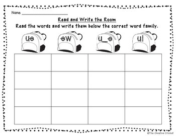 Long U Read and Write the Room / Word Sort