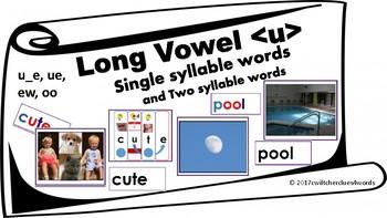 Long U Sound Blending Cards