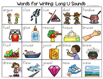 Long U Sounds Word List - Writing Center by The Kinder ...