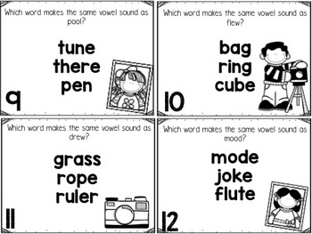 Long U Task Cards with Silent E