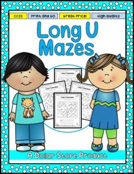 Long U Vowel Maze Practice Printables
