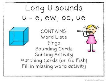 Long U Vowel Sound Activities