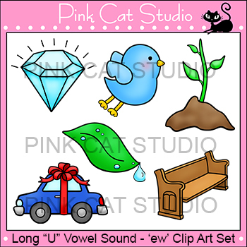 Long U Vowel Sound Spelled 'ew' Phonics Clip Art Set - Commercial Use Okay