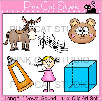 Long U Vowel Sound Spelled 'u-e' Phonics Clip Art Set - Commercial Use Okay