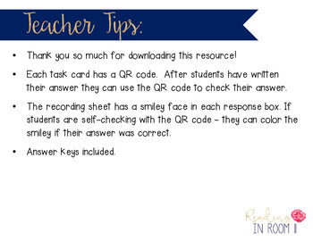 Long U Vowel Team Task Cards with Self Checking QR Code