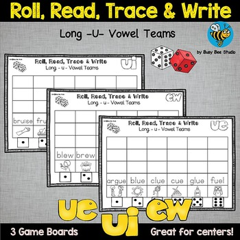 Long U Vowel Teams Game: Roll, Read and Trace
