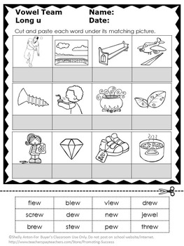 Long u Worksheets { ew ue ui Word Work } Long u Vowel Teams