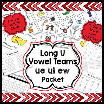 Long U Vowel Teams Word Work Packet