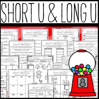 Long U And Short U Worksheets Cut And Paste Sorts Cloze Read And