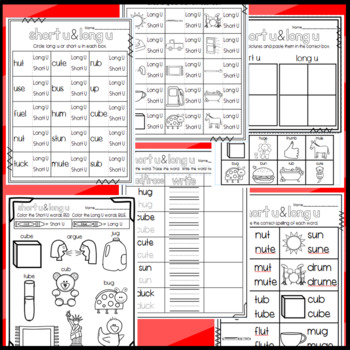 Long U and Short U Worksheets: Cut and Paste Sorts, Cloze, Read and Draw, Etc!