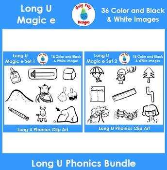 Long U (magic e) Phonics Clip Art Bundle