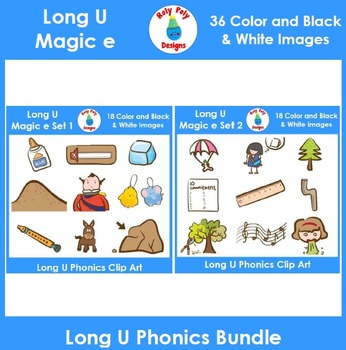Long U (magic e) Phonics Clip Art Bundle