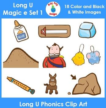Long U (magic e) Phonics Clip Art Set 1