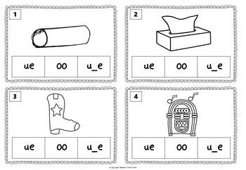 Long U task cards. 20 cards to practice ue, u_e or oo.