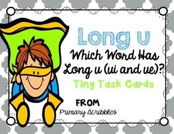 Long U (ui and ue words) Tiny Task Cards