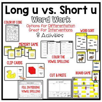 Long U vs. Short U Vowel Word Work