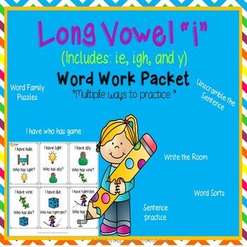 "Long Vowel ""I"" Word Work Packet (including: ie, i_e, y)"