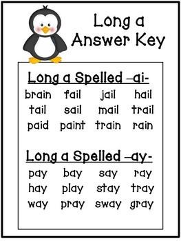 Long Vowel A - Penguin Theme