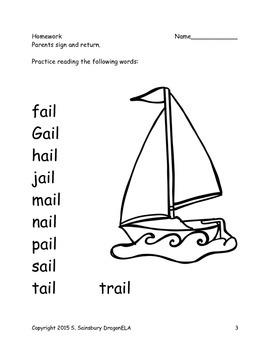 Long Vowel A Word Families Homework