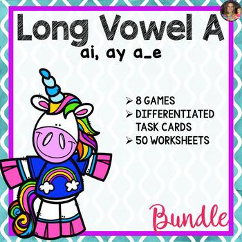 Long Vowel A Word Work Bundle (Includes: ai, ay, a_e)