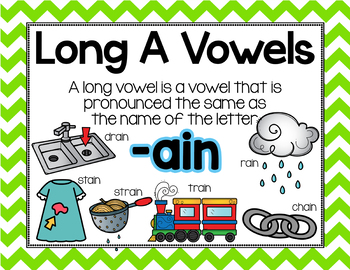 Long Vowel A Word Work {-ain Word Family}