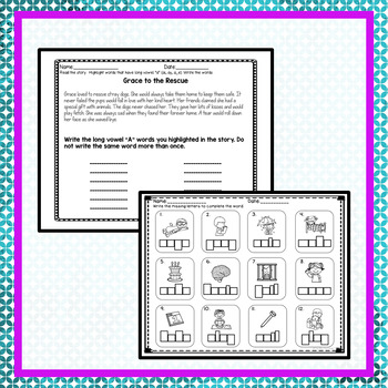 Long Vowel A Worksheets  (Includes: ai, ay, a_e)